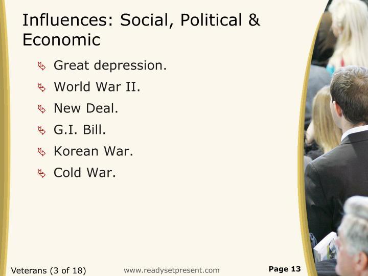 Influences: Social, Political & Economic