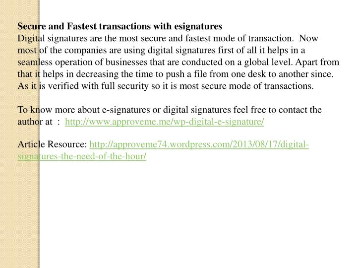 Secure and Fastest transactions with esignatures