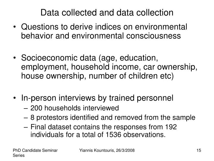Data collected and data collection