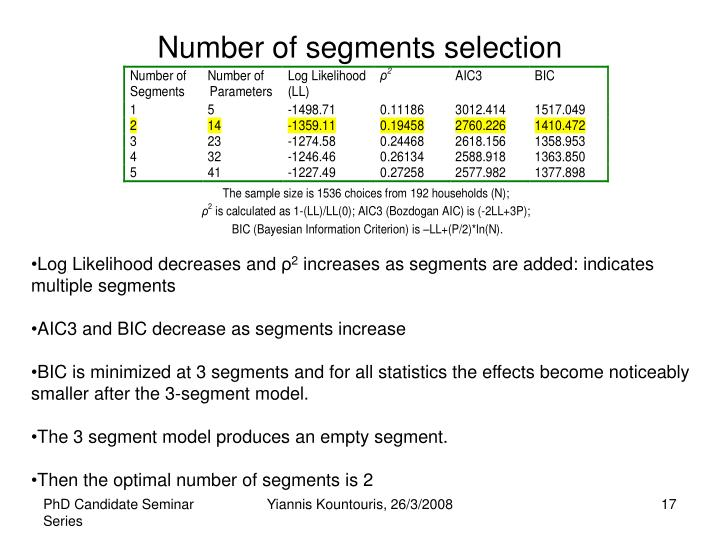 Number of segments selection