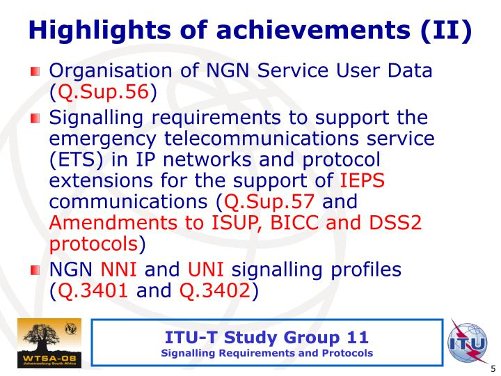 Highlights of achievements (