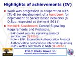 highlights of achievements iv