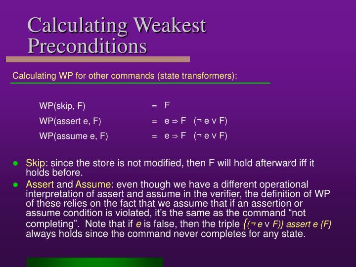 Calculating Weakest Preconditions