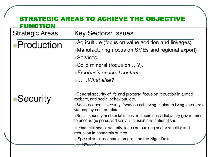 STRATEGIC AREAS TO ACHIEVE THE OBJECTIVE FUNCTION