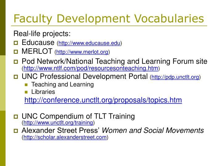 Faculty Development Vocabularies