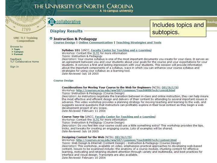 Includes topics and subtopics.