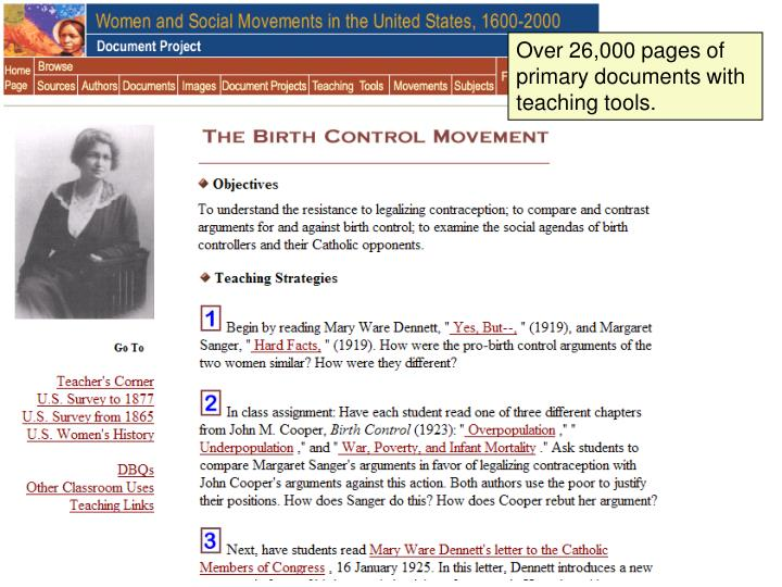 Over 26,000 pages of primary documents with teaching tools.