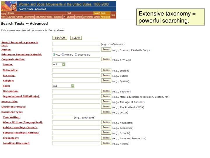 Extensive taxonomy = powerful searching.
