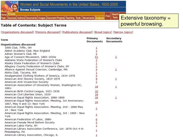 Extensive taxonomy = powerful browsing.