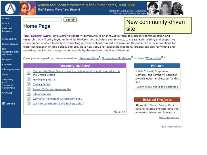 New community-driven site.