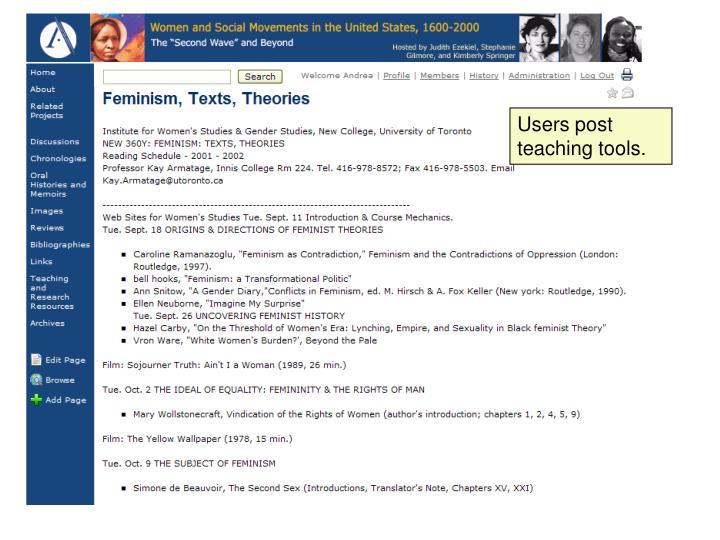 Users post teaching tools.