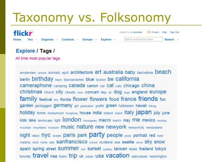 Taxonomy vs. Folksonomy