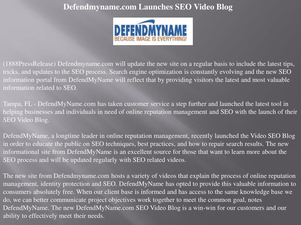 Defendmyname.com Launches SEO Video Blog