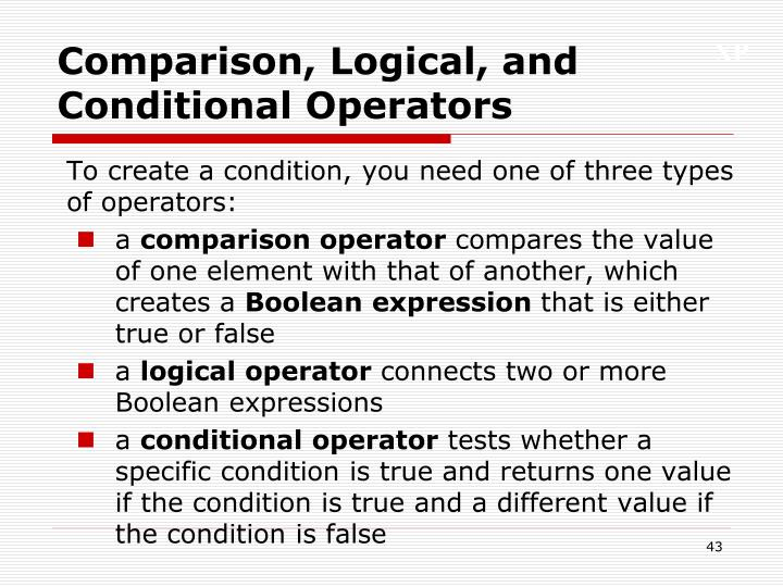Comparison, Logical, and