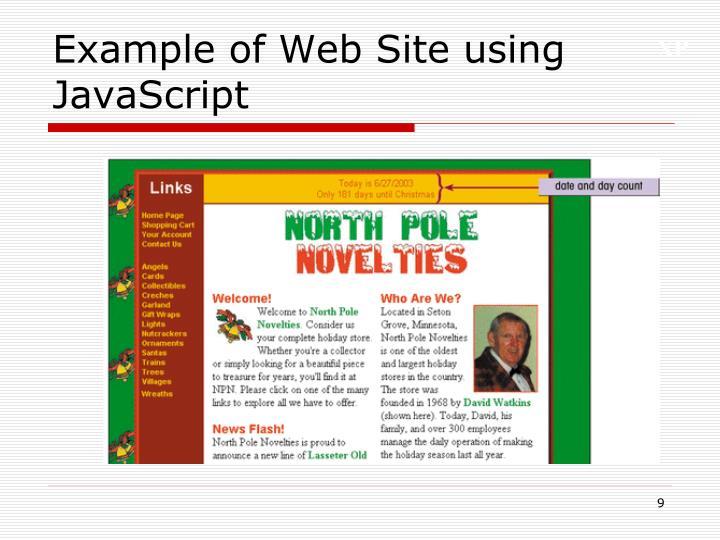 Example of Web Site using JavaScript