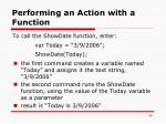 performing an action with a function1