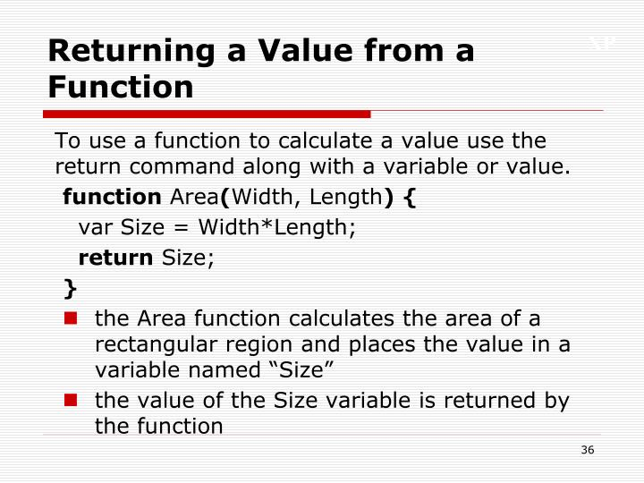 Returning a Value from a Function