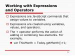working with expressions and operators