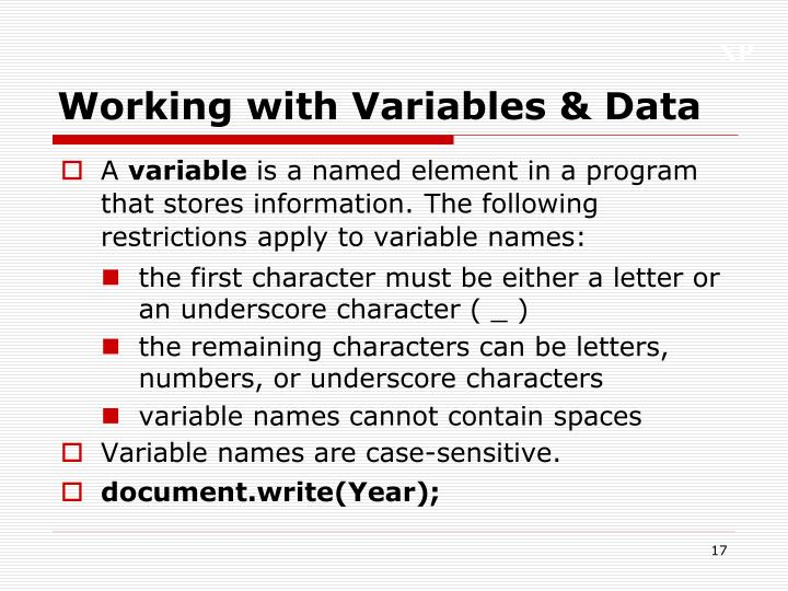 Working with Variables & Data