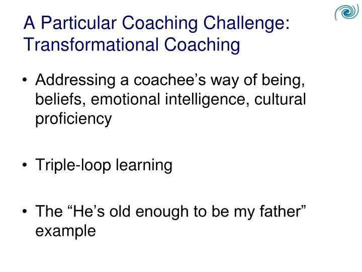A Particular Coaching Challenge: Transformational Coaching