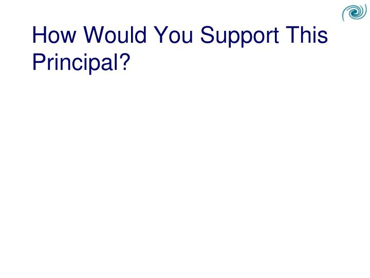 How Would You Support This Principal?