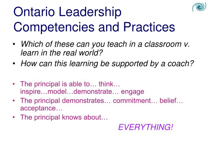 Ontario Leadership Competencies and Practices