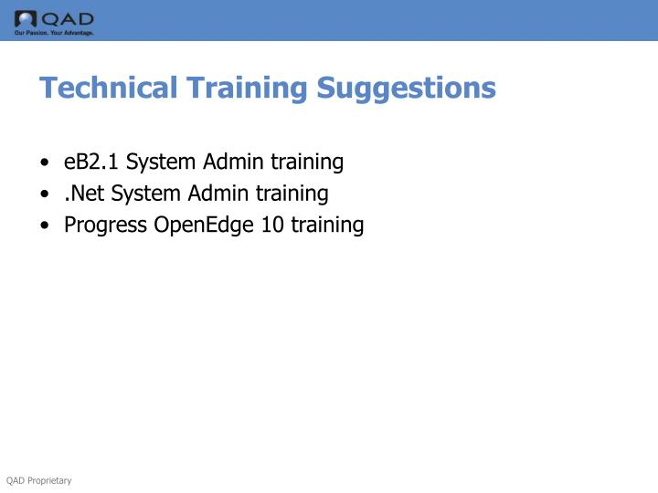 Technical Training Suggestions