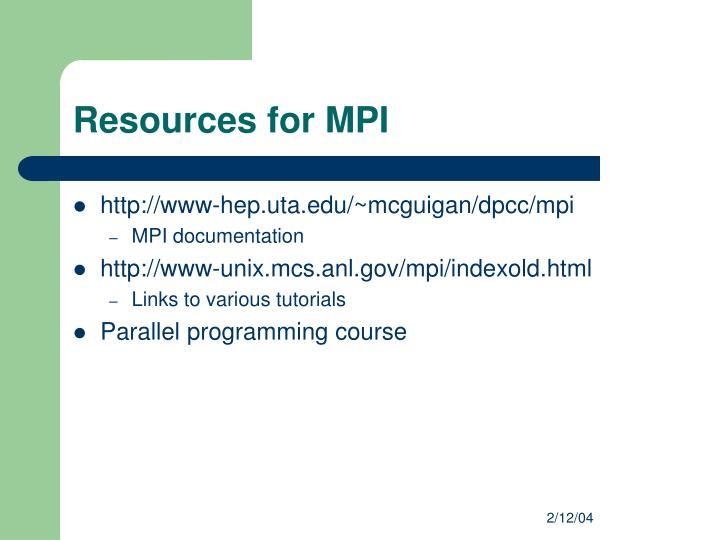 Resources for MPI