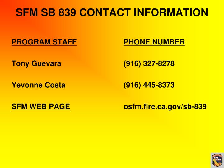 SFM SB 839 CONTACT INFORMATION
