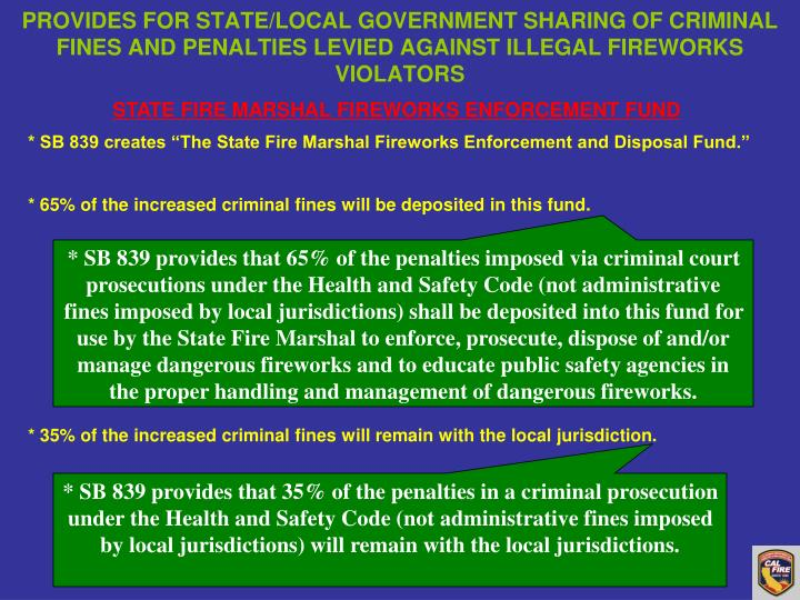 PROVIDES FOR STATE/LOCAL GOVERNMENT SHARING OF CRIMINAL FINES AND PENALTIES LEVIED AGAINST ILLEGAL FIREWORKS VIOLATORS