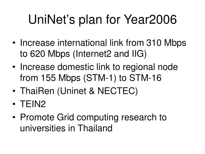 UniNet's plan for Year2006