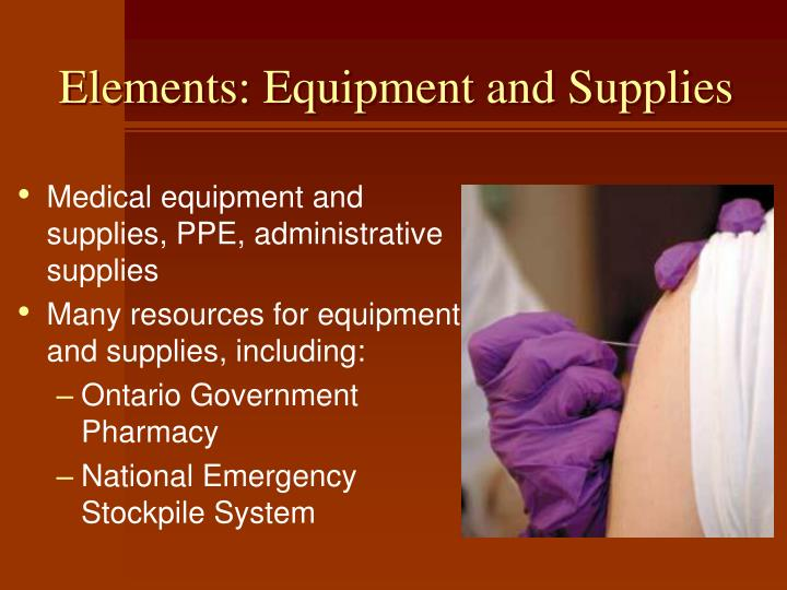 Elements: Equipment and Supplies