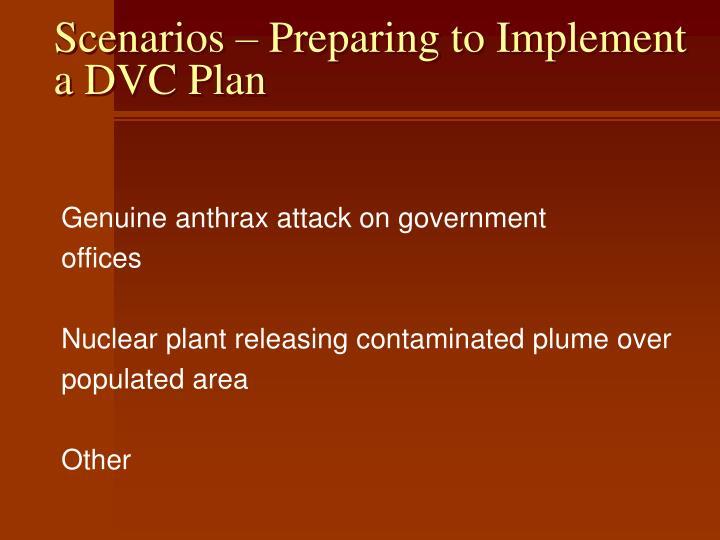Scenarios – Preparing to Implement a DVC Plan
