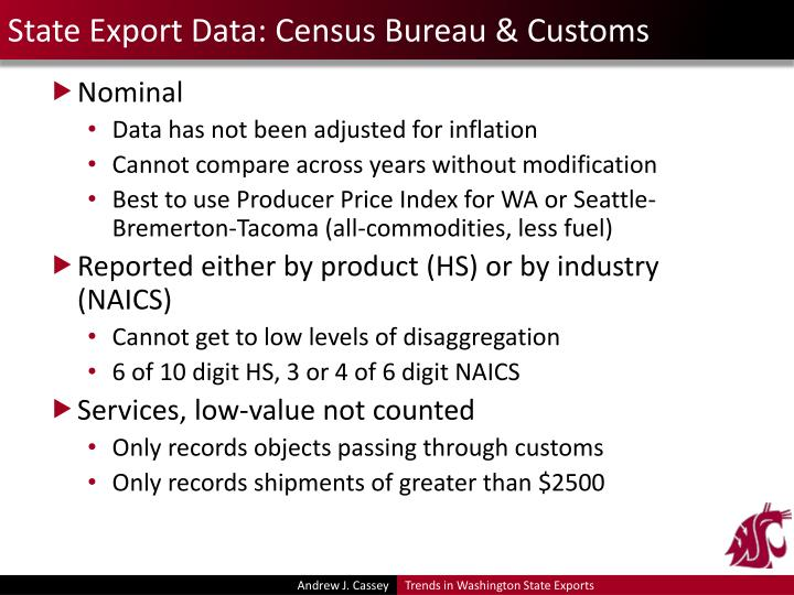State Export Data: Census Bureau & Customs