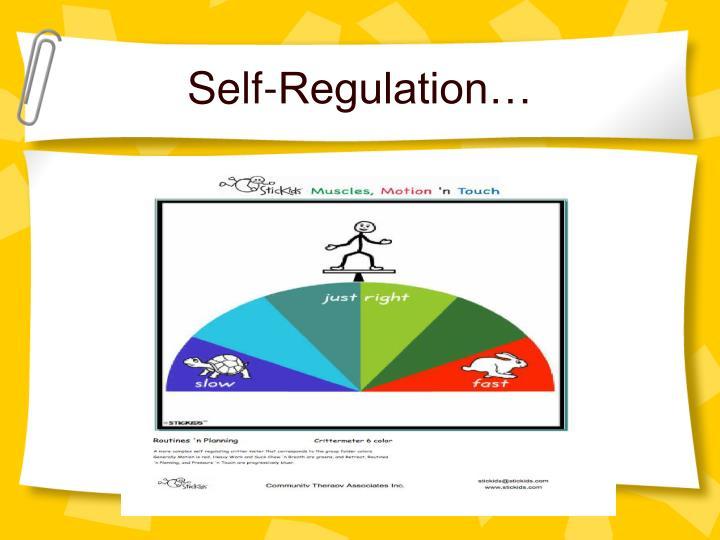 Self-Regulation…