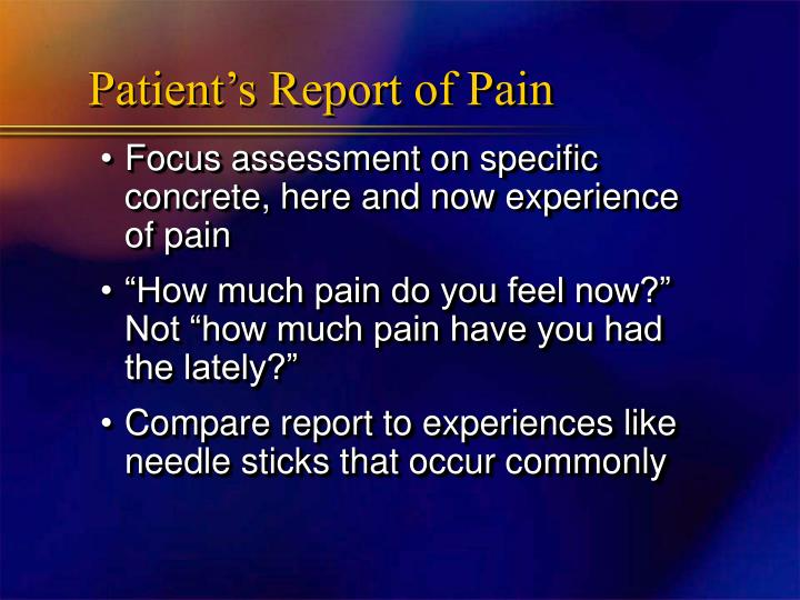 Patient's Report of Pain