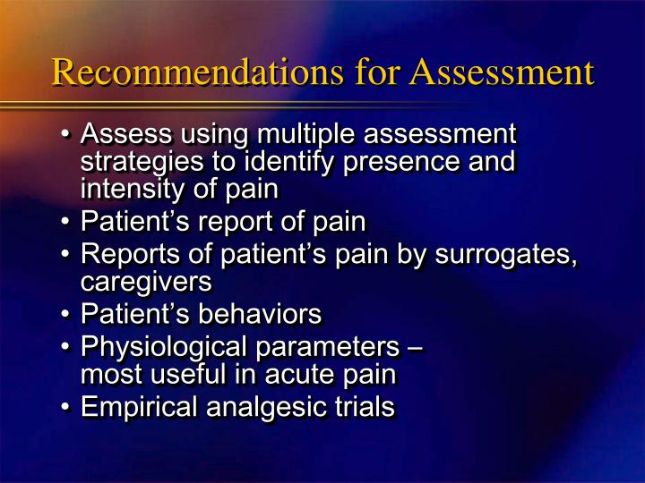 Recommendations for Assessment