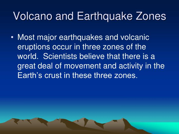 Volcano and Earthquake Zones