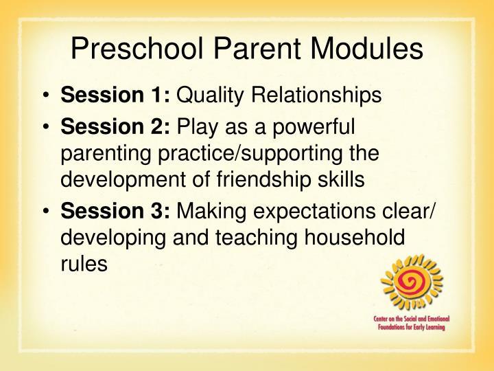 Preschool Parent Modules