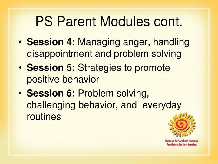 PS Parent Modules cont.