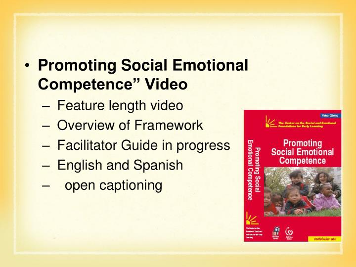 """Promoting Social Emotional Competence"""" Video"""