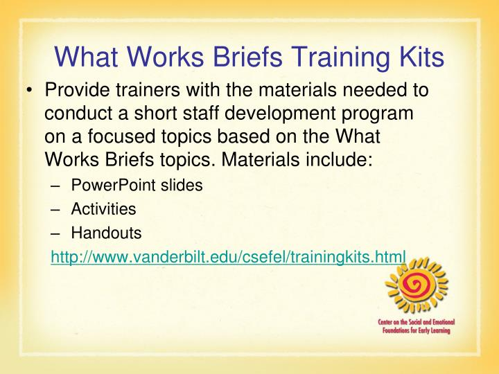 What Works Briefs Training Kits