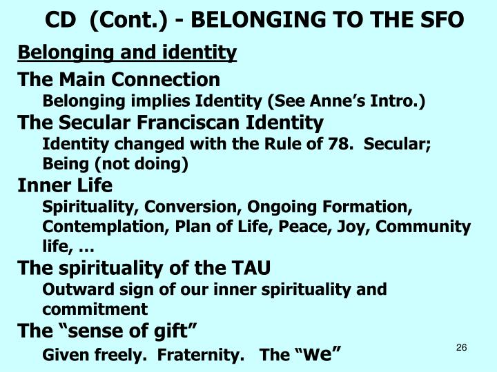 CD  (Cont.) - BELONGING TO THE SFO