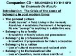 companion cd belonging to the sfo by emanuela de nunzio