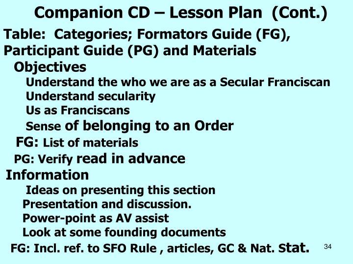 Companion CD – Lesson Plan  (Cont.)