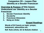 companion cd lesson plan identity as a secular franciscan