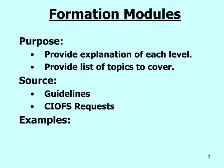 Formation Modules