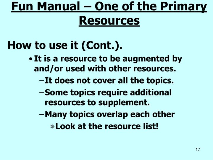 Fun Manual – One of the Primary Resources