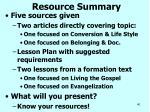 resource summary
