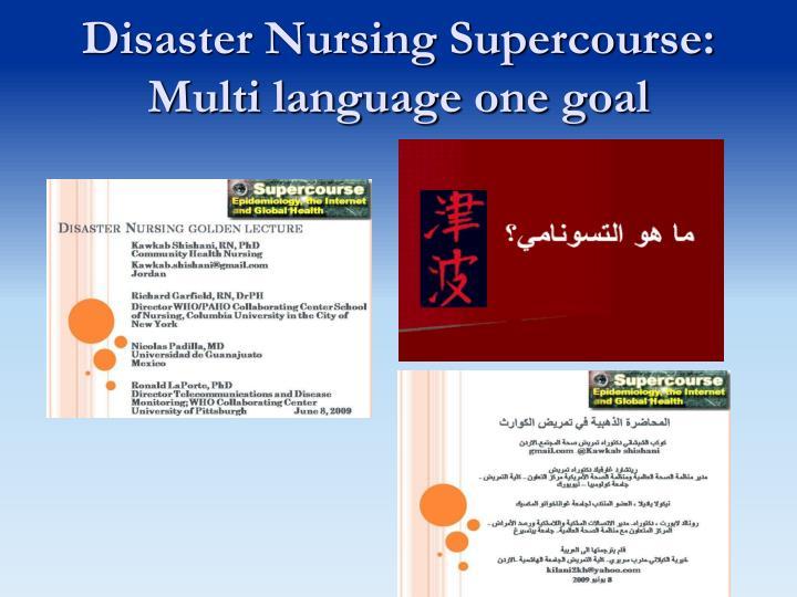 Disaster Nursing Supercourse: Multi language one goal